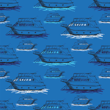Nautical seamless pattern inspired with small yachts on waves. Texture for web, print, wallpaper, home decor, spring summer fashion fabric, textile, invitation for website background. Stock Photo