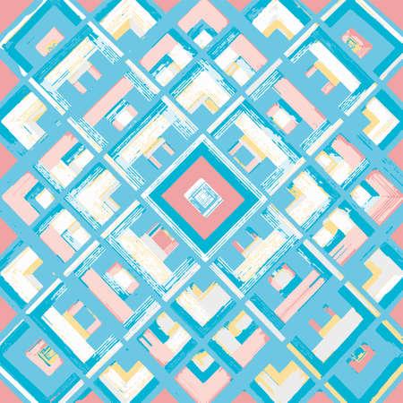 sacral: Square, mandala, hand drawn vector pattern. Geometric romb print in vector pattern. Hand drawn fashion stylish pattern.