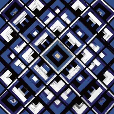 mantra: Square, mandala, hand drawn vector pattern. Geometric romb print in vector pattern. Hand drawn fashion stylish pattern.