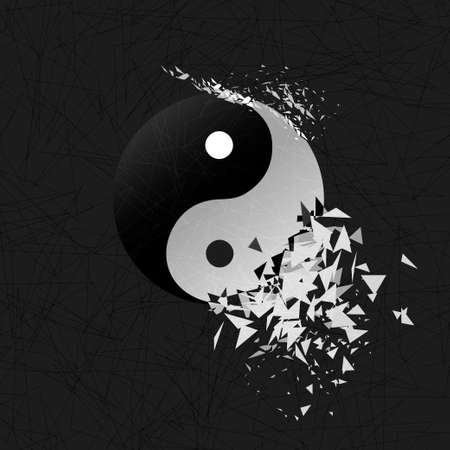 Tai chi explosion. Vector yin yang symbol. Stock Photo