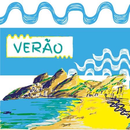 Verao, summer portuguese text. Brazilian hand drawn sketch. Ipanema style concept and logo.