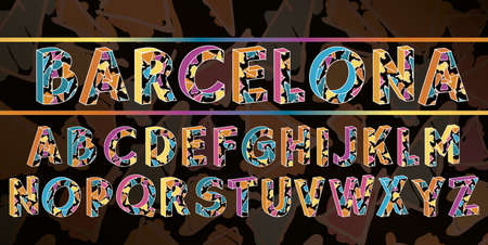 The alphabet in style of the Spanish artist of Antoni Gaudi, vector . Barcelona black font.
