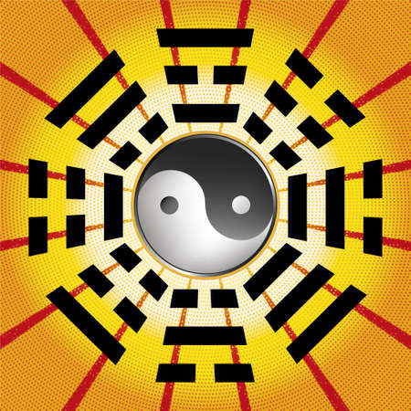 Bagua symbol of Taoism  Daoism with 8 trigrams with yin yang symbol.
