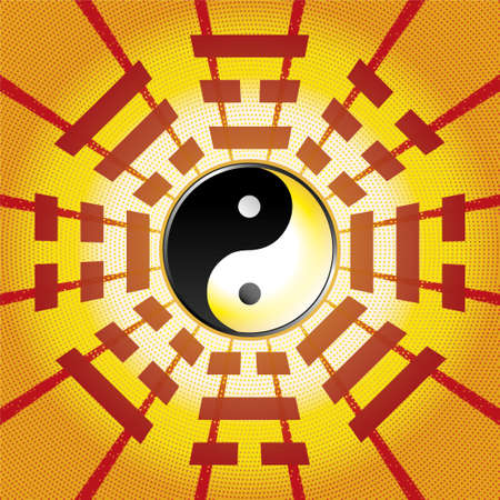 Bagua symbol of Taoism / Daoism with 8 trigrams with yin yang symbol.