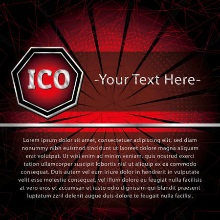ICO and Token conceptual design and template. Initial coin offering concept vector illustration of golden letters ICO and Token set