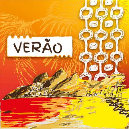 Verao, summer portuguese text. Brazilian hand drawn sketch. Ipanema style concept and logo. Ipanema beach view.