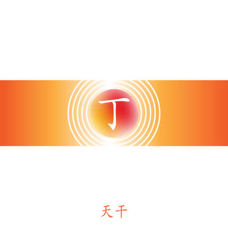 Four Pillars of Destiny. Chinese feng shui horoscope letters. BaZi infographic elements. Translation of 10 zodiac stems, feng shui signs hieroglyph: Din, Yin fire.