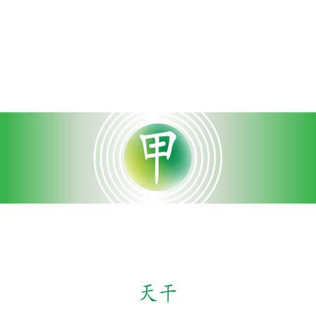 Four Pillars of Destiny. Chinese feng shui horoscope letters. BaZi infographic elements. Translation of 10 zodiac stems, feng shui signs hieroglyph: Dzja. Yang wood. Tree. Banco de Imagens