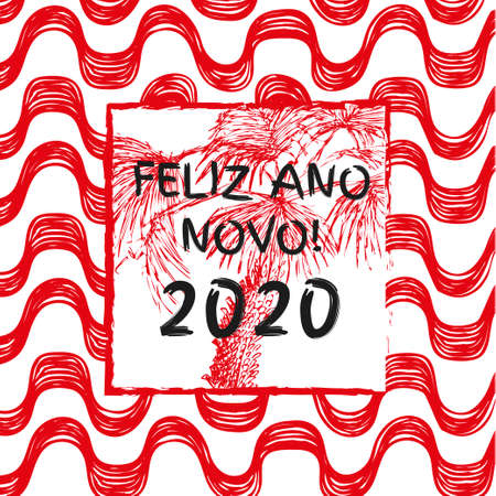 Ipanema beach pattern vector consept for card, banners and calenders. Brasil style pattern. Happy 2020 New Year.