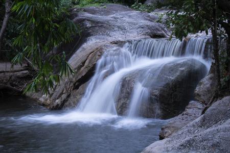 Beautiful Khao Chon Waterfall (Nine-Level Waterfall), Ratchaburi, Thailand