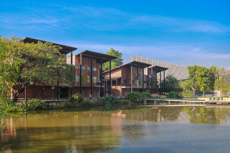 Wooden Modern-Style Buldings at Mahidol University Stock Photo