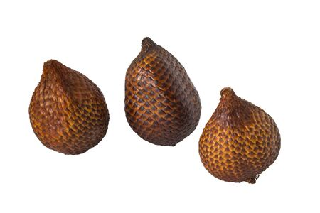 Salak Pondoh or Salacca or Snake Fruits Exotic Fruit from Indonesia at different sides in white background with clipping path
