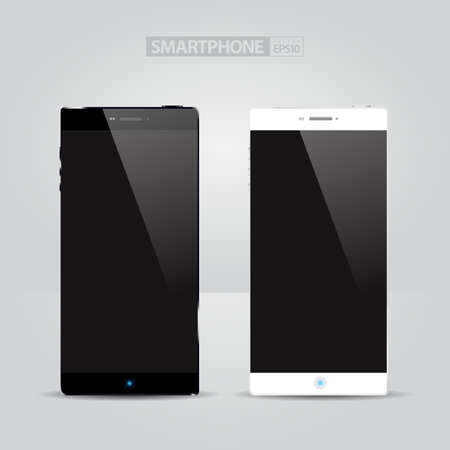Realistic Smart phone Concept  white and black  Vector