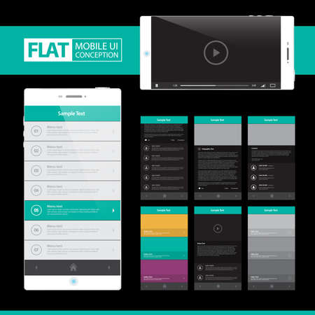 web pages: Flat Mobile Web UI Concept