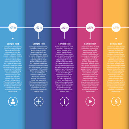 Colorful Flat Timeline Template   EPS10 Vector Illustration