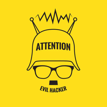 spamming: Icon evil hacker on a yellow background Illustration