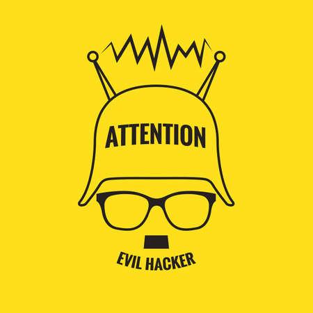 alertas: Icono malvado pirata sobre un fondo amarillo Vectores