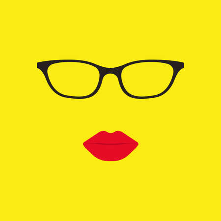 seduction: Women glasses and lips in flat style