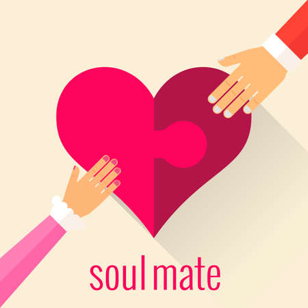 mate: Heart in the form of a puzzle. Soul mate