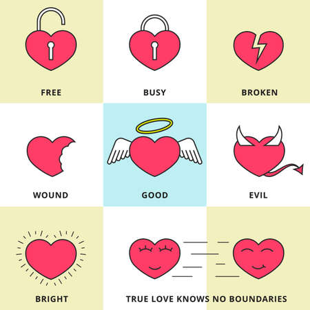 dating icons: Set of flat line icons for love, dating and Valentine\\