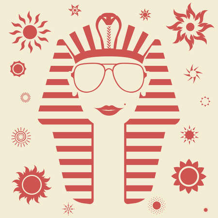 cleopatra: Female Pharaoh in sunglasses with a beauty spot on her cheek, red sun icons