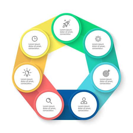 heptagon: Chart, diagram with 7 steps, options, parts, processes. Vector design element.