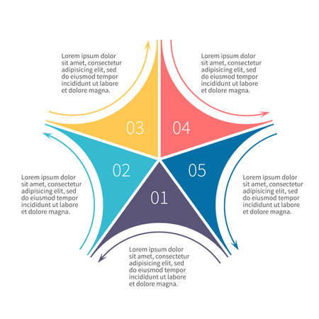 Infographics step by step. Star diagram, chart, graph with 5 steps, options, parts, processes with outline arrows.