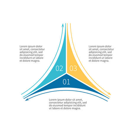 three phase: Infographics step by step. Star diagram, chart, graph with 3 steps, options, parts, processes with outline arrows.