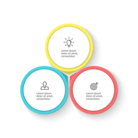 three phase: Infographic element with petals. Flat chart, diagram, graph with 3 steps, options. Vector design element. Illustration