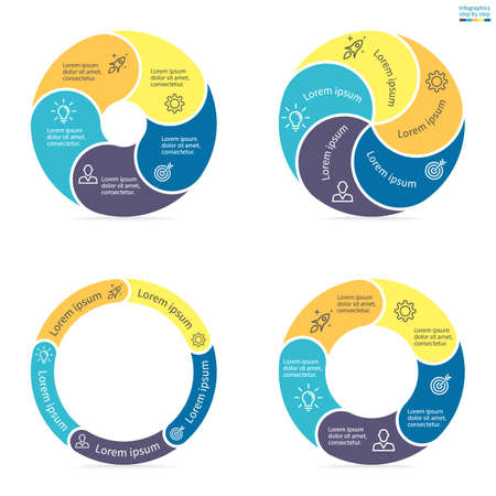 sections: Circular infographics step by step with rounded colored sections. Set of flat pie charts. Chart, diagram with 5 steps, options, parts, processes. Vector circle template in blue and yellow.