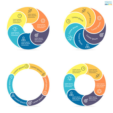 sections: Circular infographics step by step with rounded colored sections. Set of flat pie charts. Chart, diagram with 6 steps, options, parts, processes. Vector circle template in blue and yellow.
