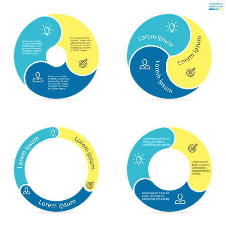 three phase: Circular infographics step by step with rounded colored sections. Set of flat pie charts. Chart, diagram with 3 steps, options, parts, processes. Vector circle template in blue and yellow.