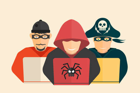 scammer: Cyber security. Hacker, computer pirate and scammer. Illustration