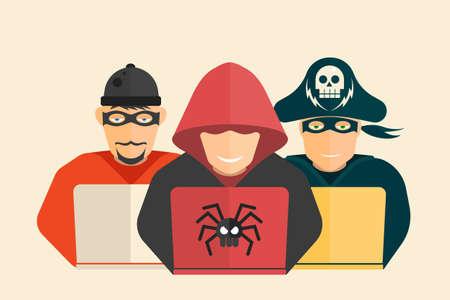 La cyber-sécurité. Hacker, pirate informatique et escroc.