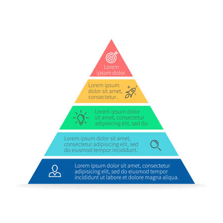 Pyramid for infographics with numbers. Chart, diagram with 5 steps, options. Vector design element.