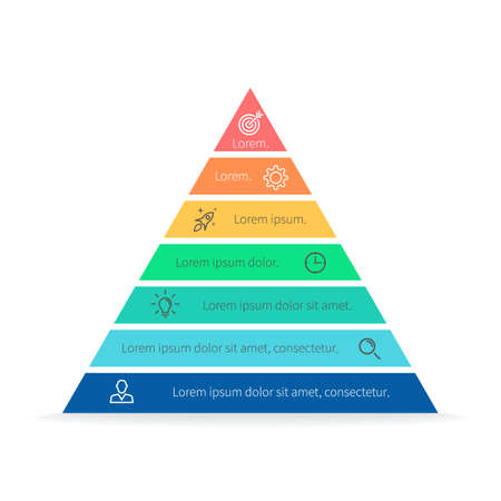 layers levels: Pyramid for infographics with numbers. Chart, diagram with 7 steps, options. Vector design element.