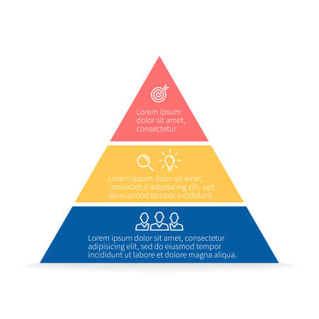 three layer: Pyramid for infographics with numbers. Chart, diagram with 3 steps, options. Vector design element.