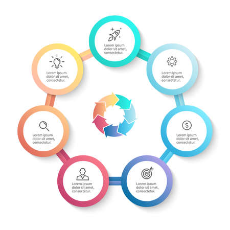 heptagon: Infographic business template with 7 options, parts. Vector design element. Illustration