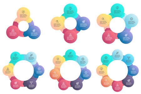 7 8: Business infographics. Circular charts, diagrams with 3, 4, 5, 6, 7, 8 steps, options, parts, processes. templates.