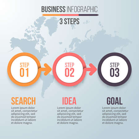 Three steps infographics. Business strategy, search ideas, success. Chart, diagram, graph with 3 steps, options, parts, processes with arrows. design element.