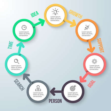 heptagon: Circular infographics. Business diagram with 7 steps. design element.