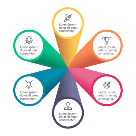 Infografisch element met bloemblaadjes. Plattegrond, diagram, grafiek met 6 stappen, opties.