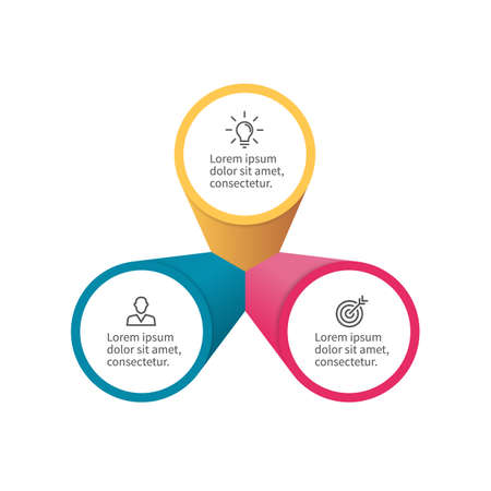 three phase: Infographic element with petals. Flat chart, diagram, graph with 3 steps, options.