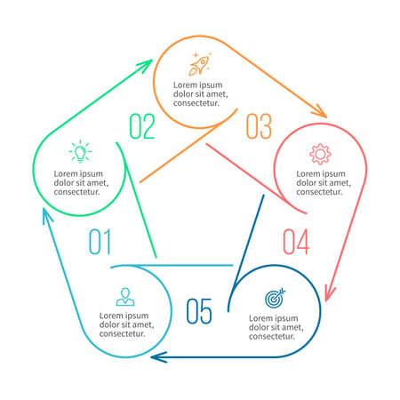 pentagon: Pentagon for infographics. Minimalistic chart, diagram with 5 steps, parts. Illustration