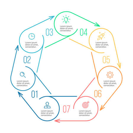 heptagon: Heptagon for infographics. Minimalistic chart, diagram with 7 steps, parts.