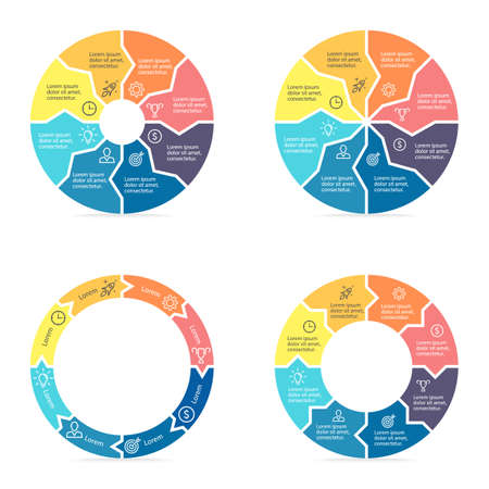 circular arrows: Circular arrows for infographics. Chart, diagram with 8 steps, parts. templates.