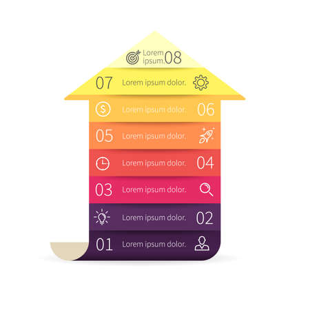 Arrow for infographics. Diagram with 8 steps. design element.