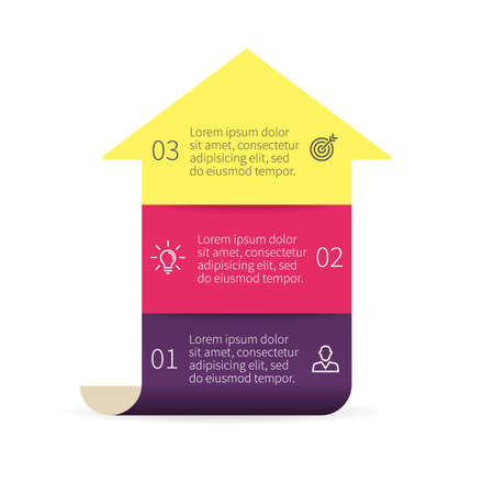 three phase: Arrow for infographics. Diagram with 3 steps. design element. Illustration