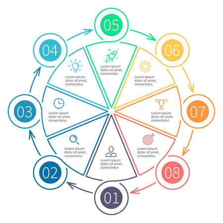 Outline infographics, pie chart. Chart, diagram with 8 steps, options. design element.