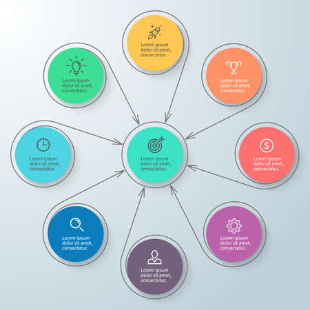 8 9: Circular infographic with central element. Minimalistic diagram with 8, 9 steps. Vector design element.